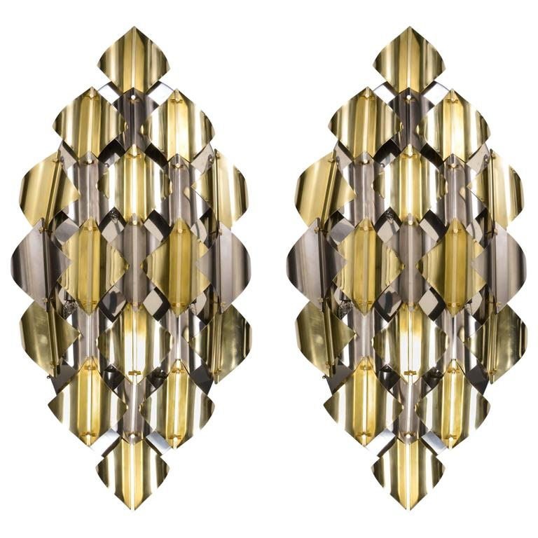Pair of Wall Sconces in Grey and Gold Metal at 1stdibs