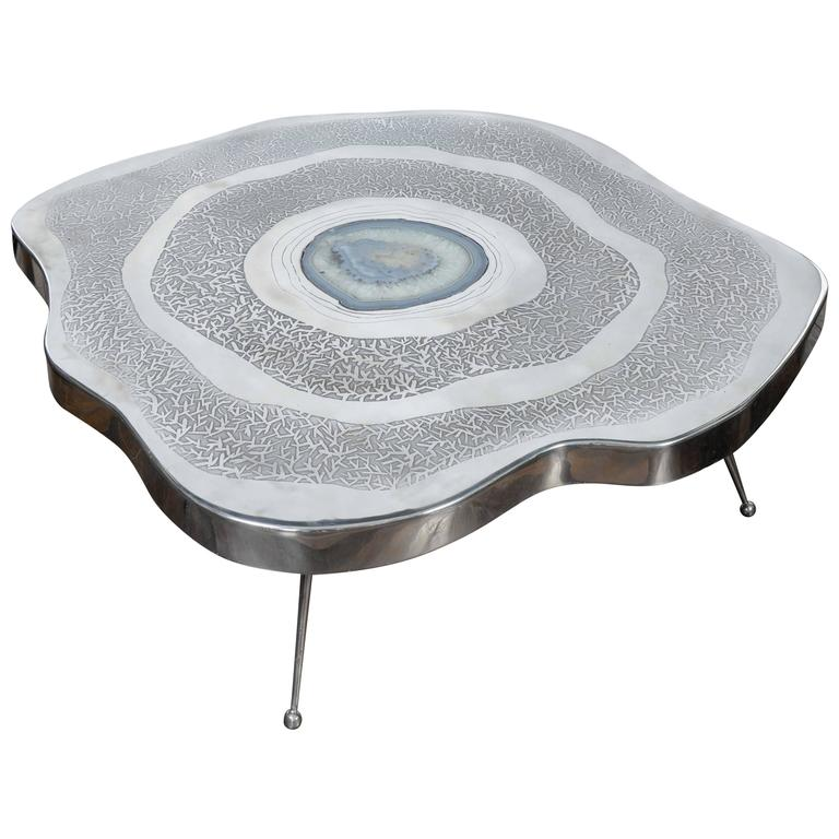 Free Shape Aluminium And Agate Coffee Table For Sale