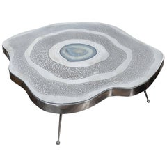 Free Shape Aluminium and Agate Coffee Table at cost price