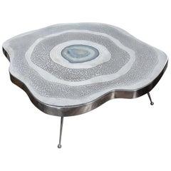 Free Shape Aluminium and Agate Coffee Table