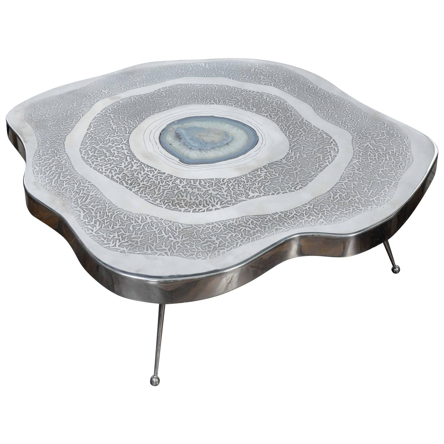 Free Shape Aluminium and Agate Coffee Table For Sale at 1stdibs