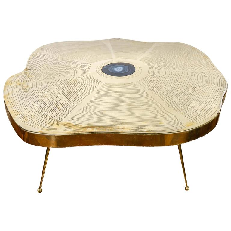 Charmant Free Form Brass And Agate Coffee Table For Sale