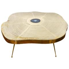 Free-Form Brass and Agate Coffee Table