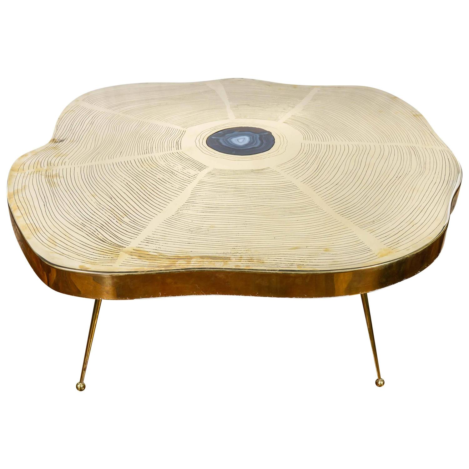Nice Free Form Brass And Agate Coffee Table For Sale At 1stdibs