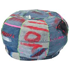 Unique Handmade Bohemian Rock and Roll Style Vintage Denim Pouffe/Floor Cushion