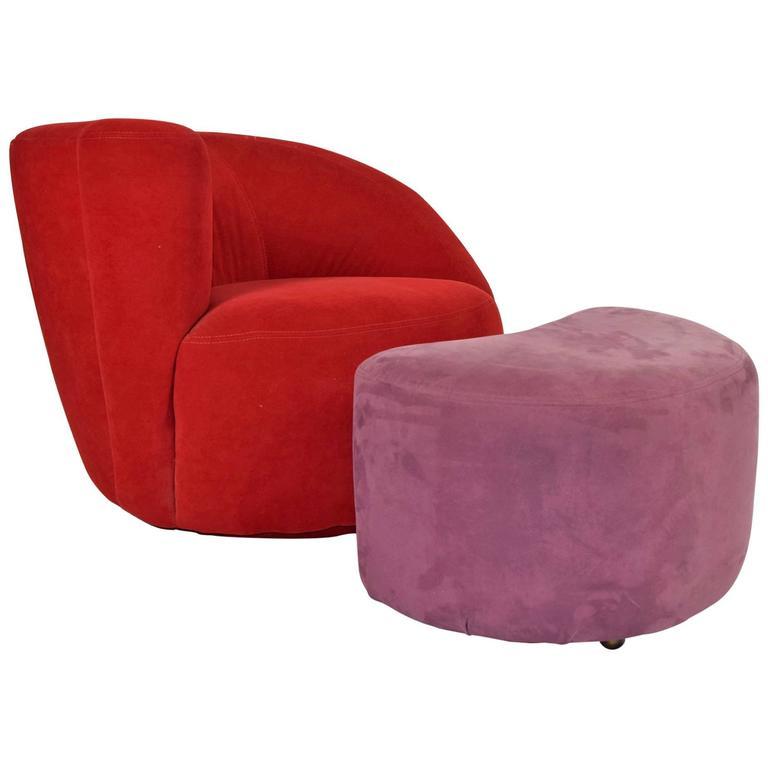 Nice Vladimir Kagan Corkscrew/Nautilus Chair With Ottoman 1