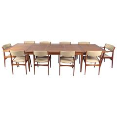 Danish Modern Dining Set With Ten Dining Chairs