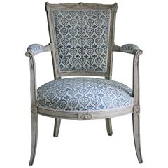 Late 19th Century French Empire Style Painted Armchair in French-Indie Fabric