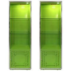 Pair of Bright Green Thomasville Mid-Century Modern Cabinet Shelves