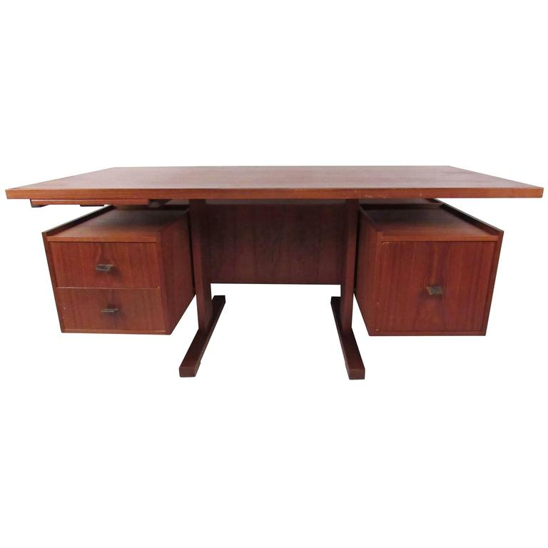 Mid-Century Modern Floating Top Desk in Teak