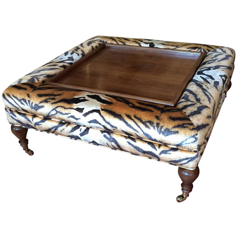 Flip Top Ottoman Coffee Table Upholstered In Scalamandre Faux Tiger 1