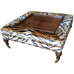Flip-Top Ottoman Coffee Table Upholstered in Scalamandre Faux Tiger