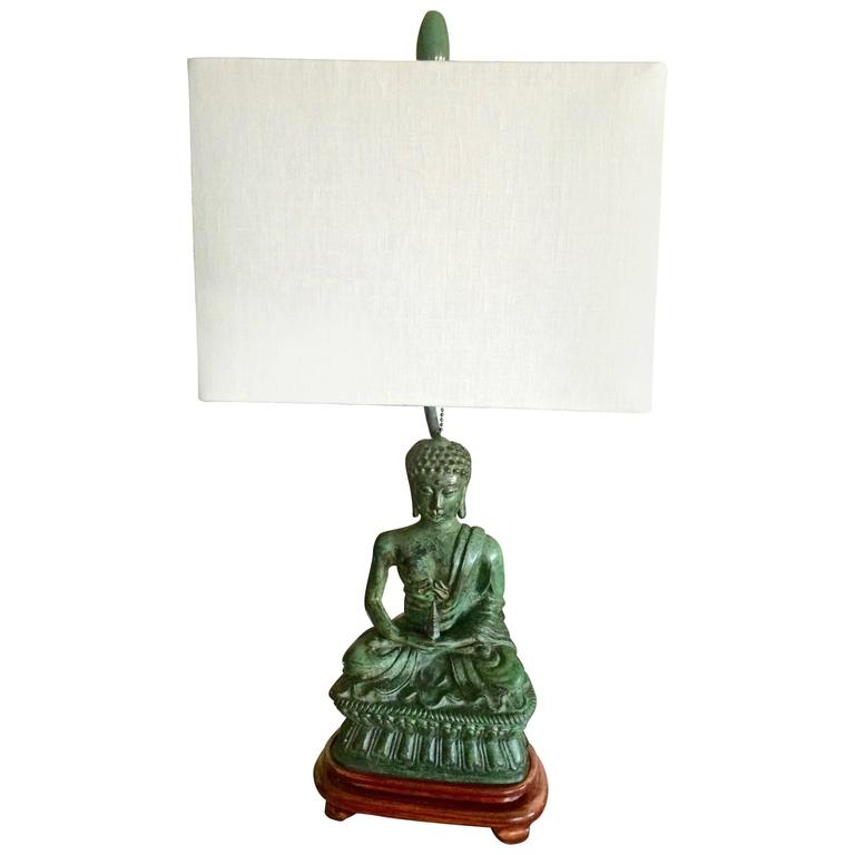 Mid Century Modern Verdigris Buddha Table Lamp 1