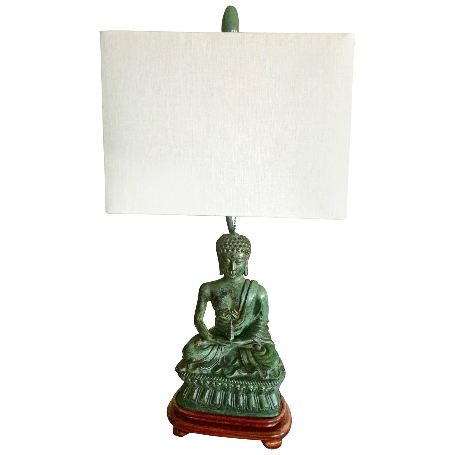 mid century modern verdigris buddha table lamp at 1stdibs. Black Bedroom Furniture Sets. Home Design Ideas