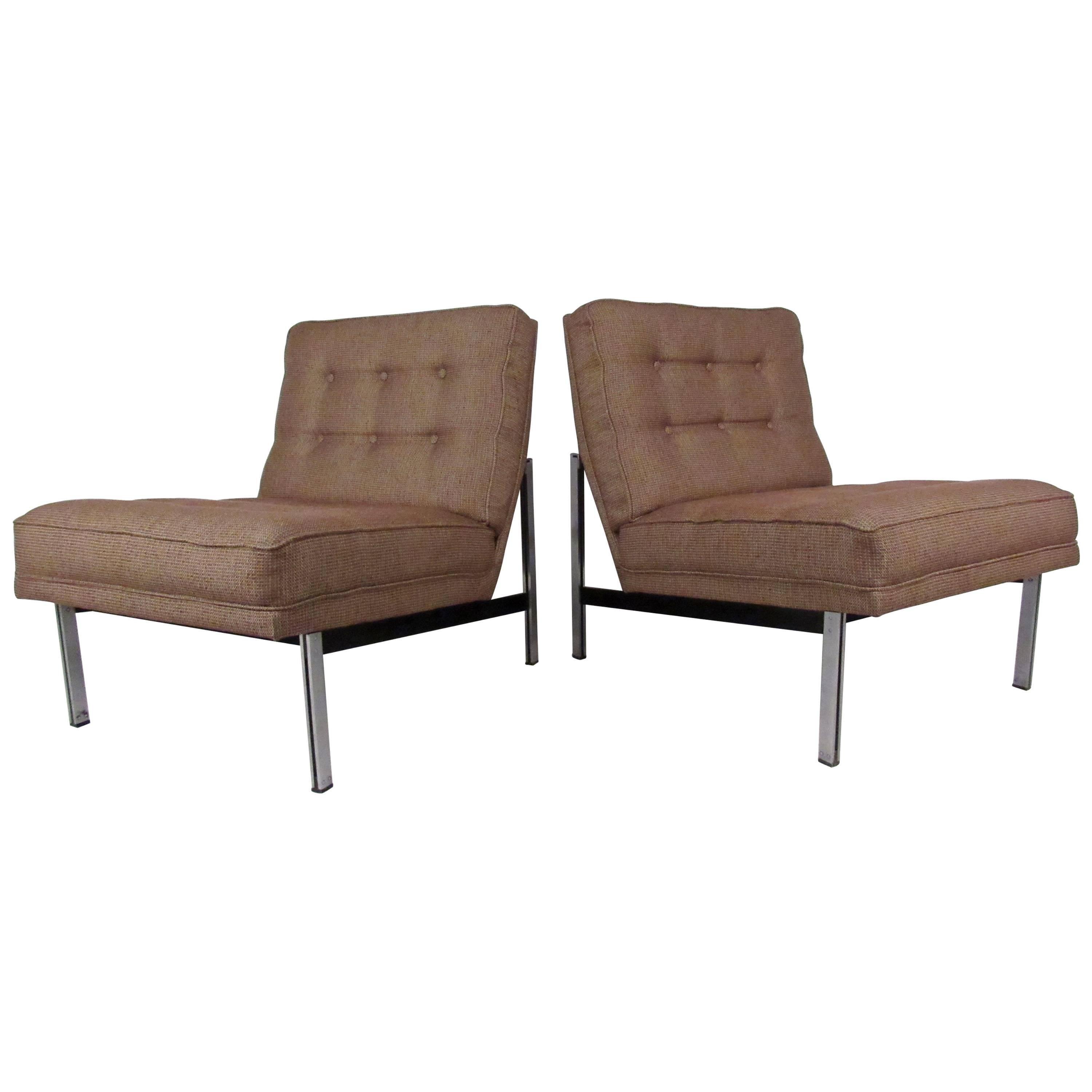 "Mid-Century Florence Knoll ""Parallel Bar"" Slipper Chairs"