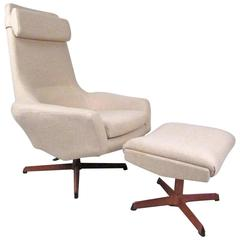 Mid-Century Adrian Pearsall Style Swivel Lounge Chair with Ottoman