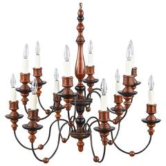 Italian Painted Wood and Metal Chandelier, 1920s-1940s