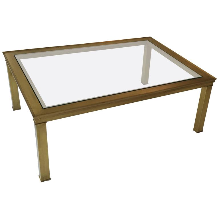 Mastercraft Solid Brass and Glass Top Coffee Table with Greek Key