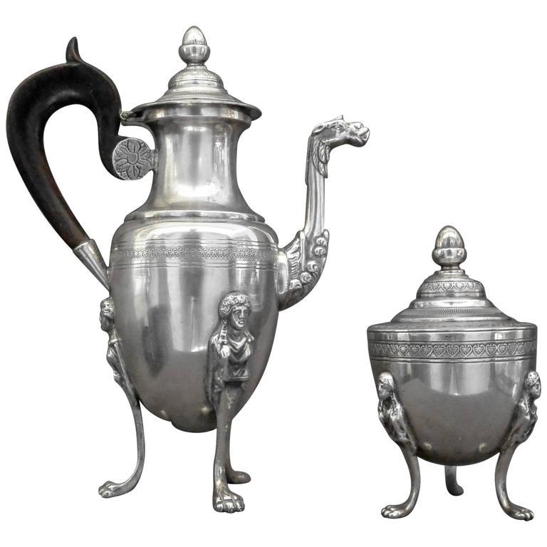 Italian Neoclassical Silver Coffee Pot and Sugar Bowl
