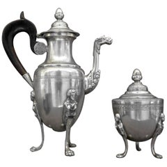 Italian Neoclassical Silver Coffee Pot and Sugar Bowl