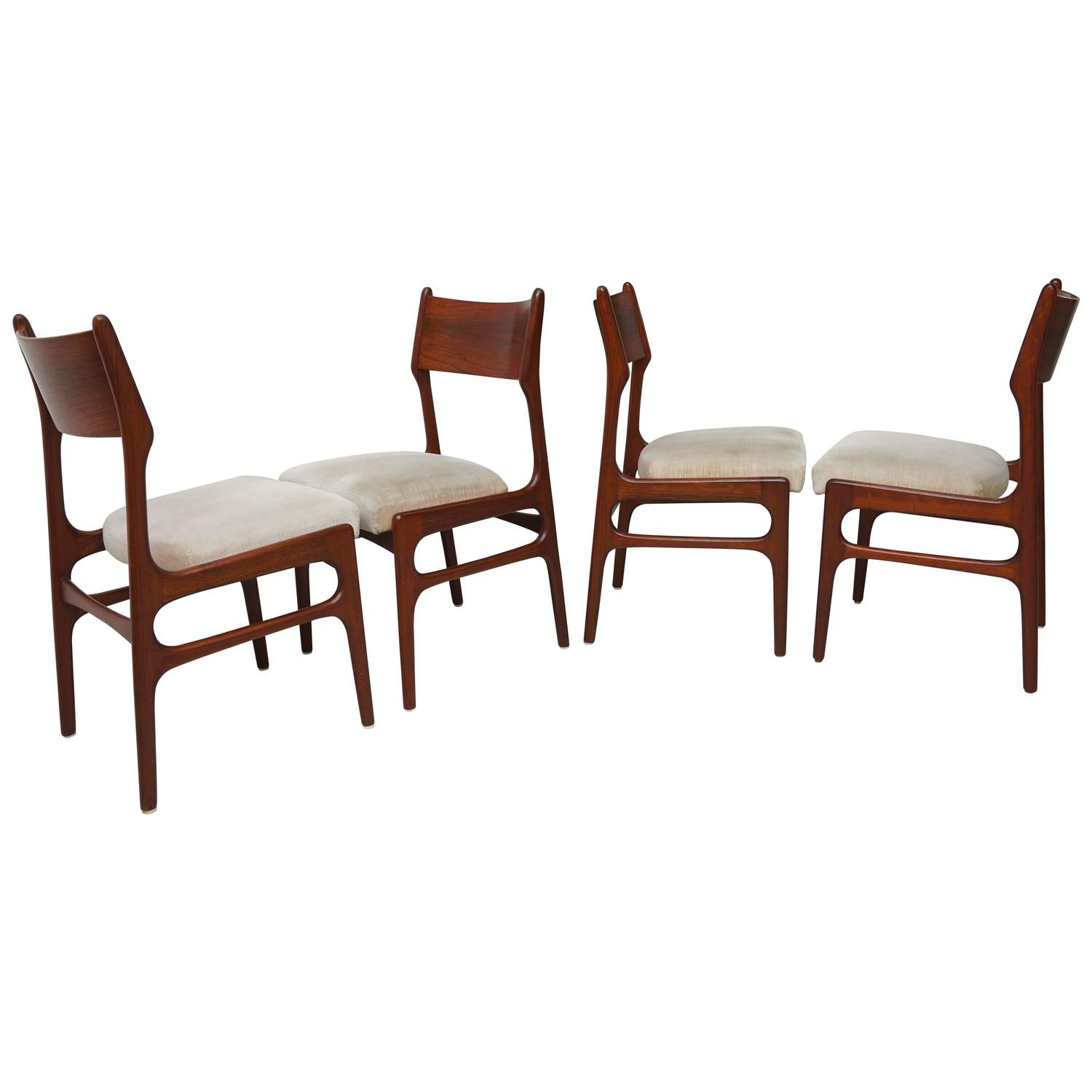Four Mid-Century European Dining Chairs Mahogany, 1950s