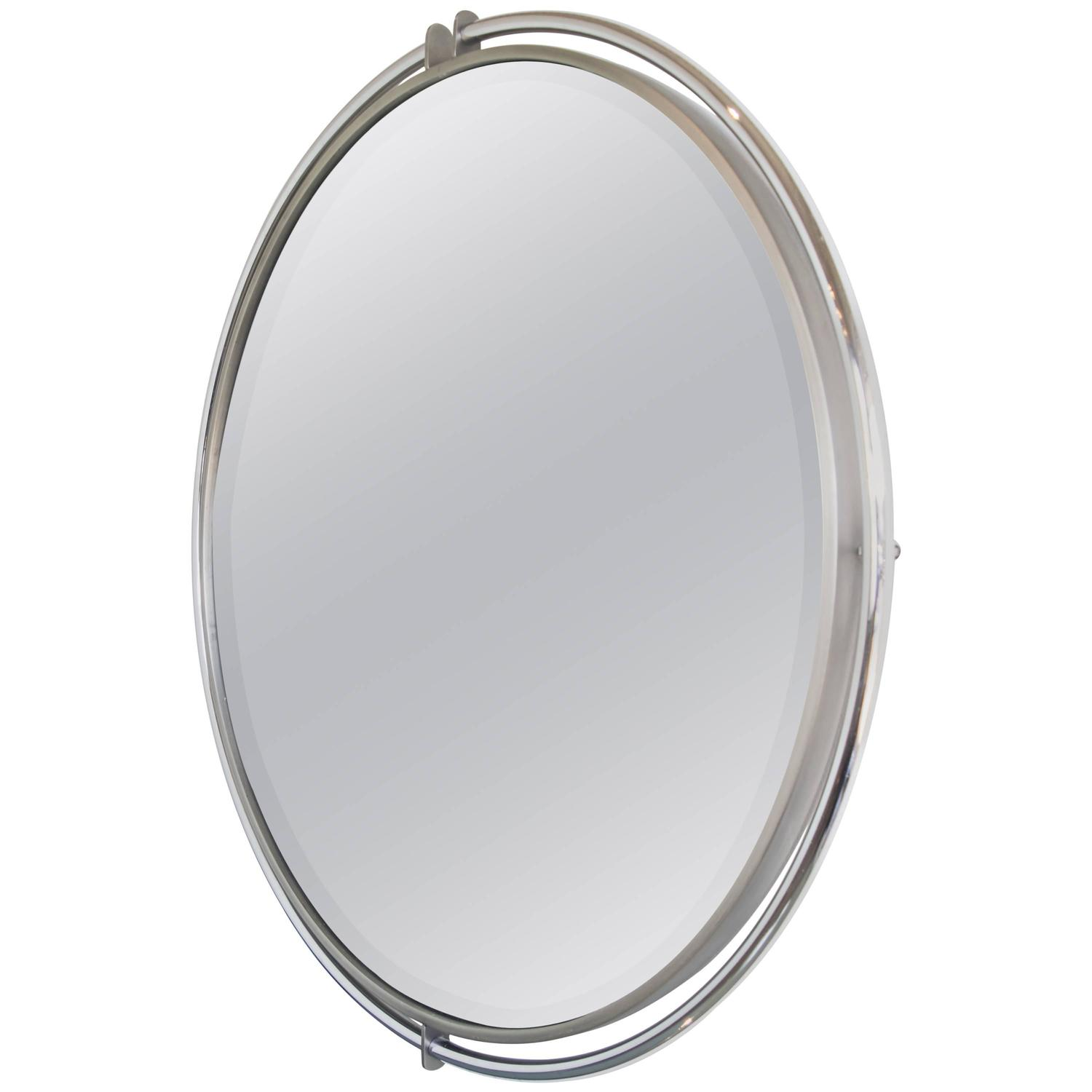 Dia chrome floating round mirror with beveled glass at 1stdibs for Beveled glass mirror