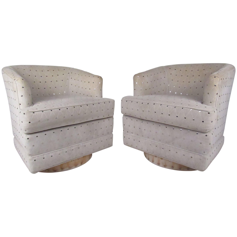 Mid-Century Barrel Back Swivel Chairs