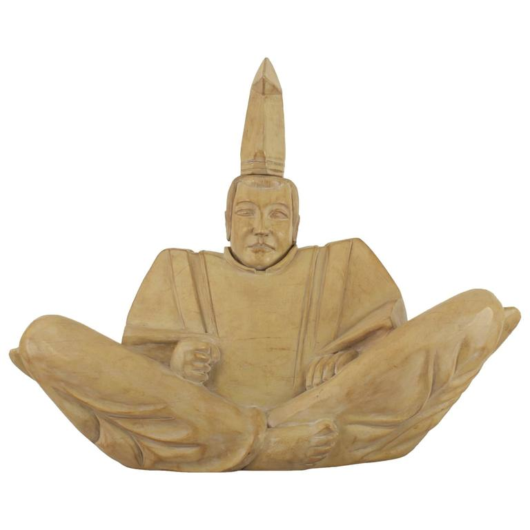 Mid-Century Bleached Wood Sculpture of a Seated Shinto Priest