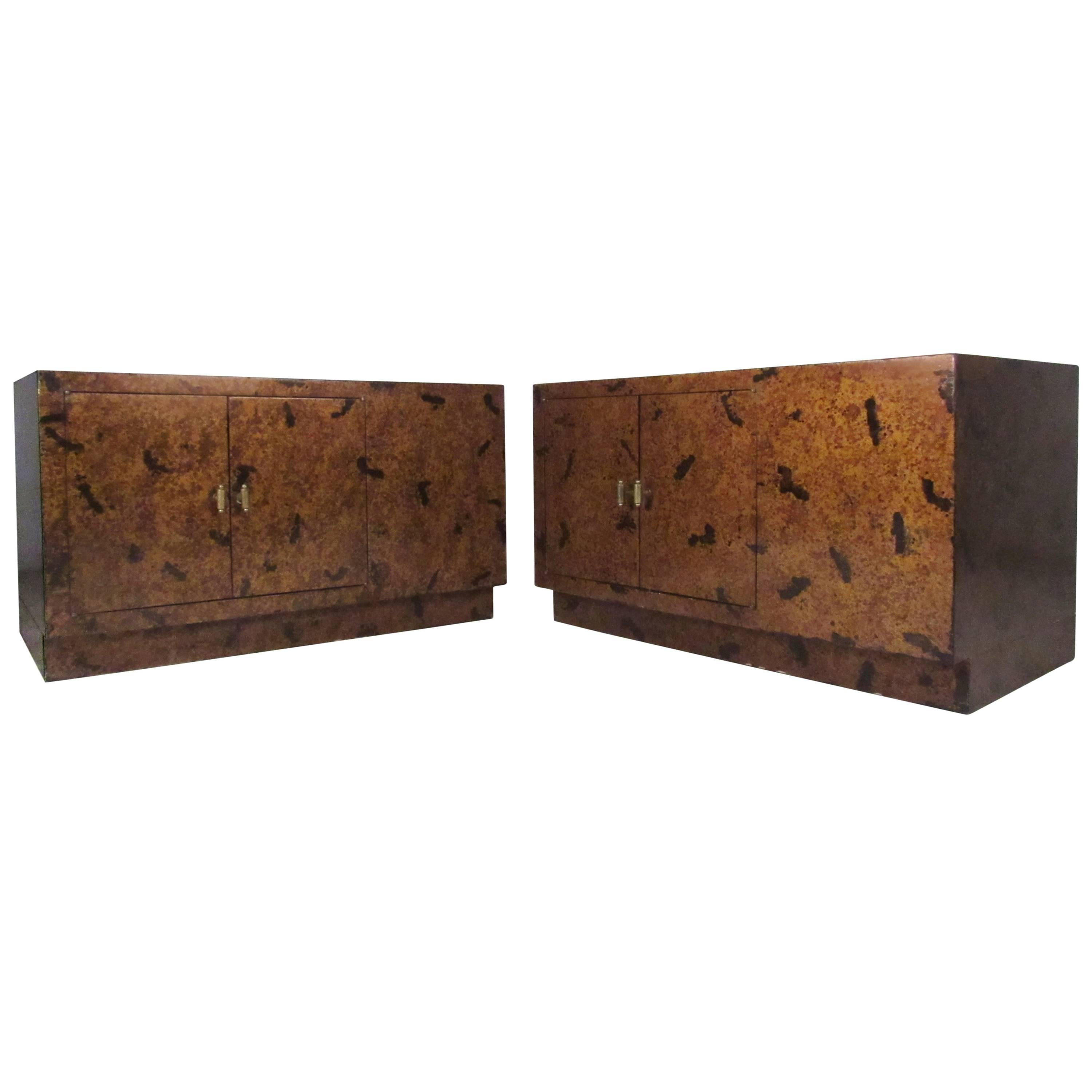 Pair of Tortoise Shell End Tables by Directional