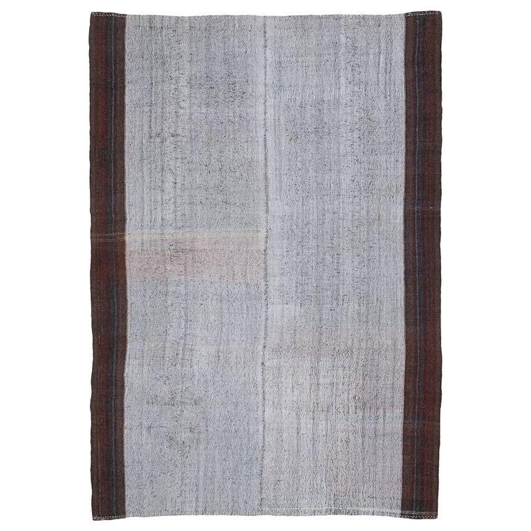 Large Cotton And Goat Hair Kilim With Border At 1stdibs