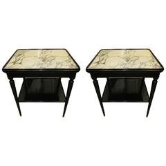 Pair of  French Ebonized Marble-Top Nightstands with Shelves