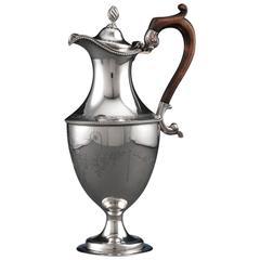Hester Bateman Wine Jug Georgian Sterling Silver Pot, circa 1780