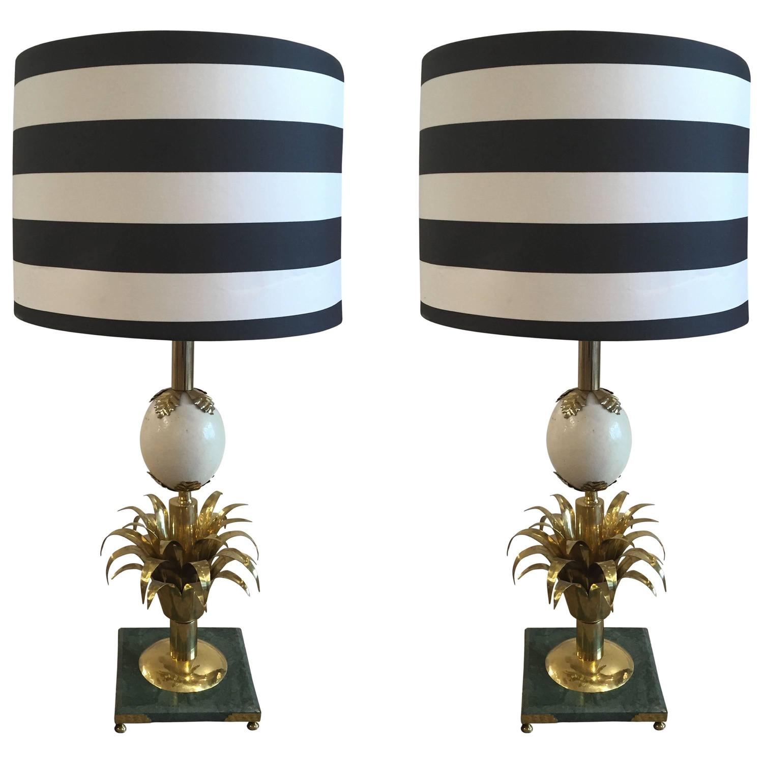 Brass And Ostrich Egg Lamps With Porta Romana Striped