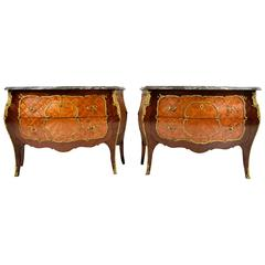 Pair of French Louis XV Kingwood Bombay Chest of Drawers or Commodes