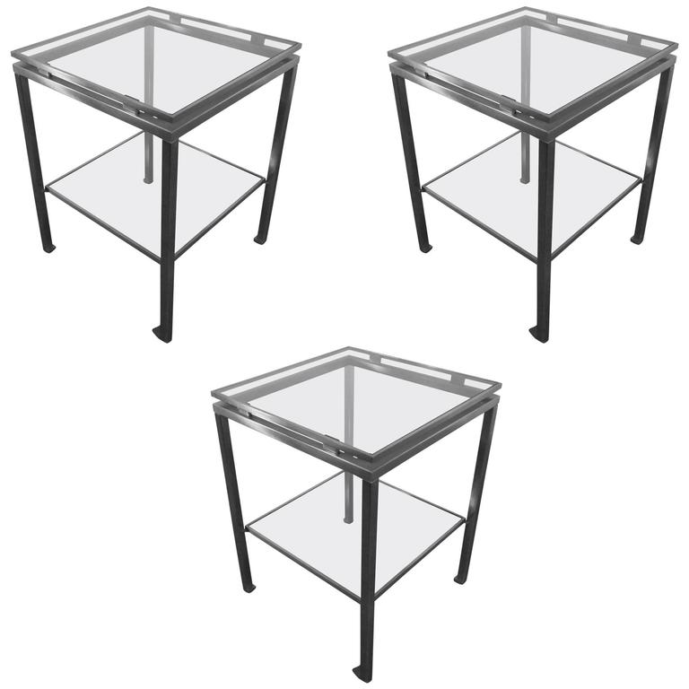 Guy Lefevre Set of Three Side Tables in Brushed Steel, Maison Jansen