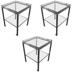 Guy Lefevre Set of Three Side Tables in Brushed Steel, Maison Jansen