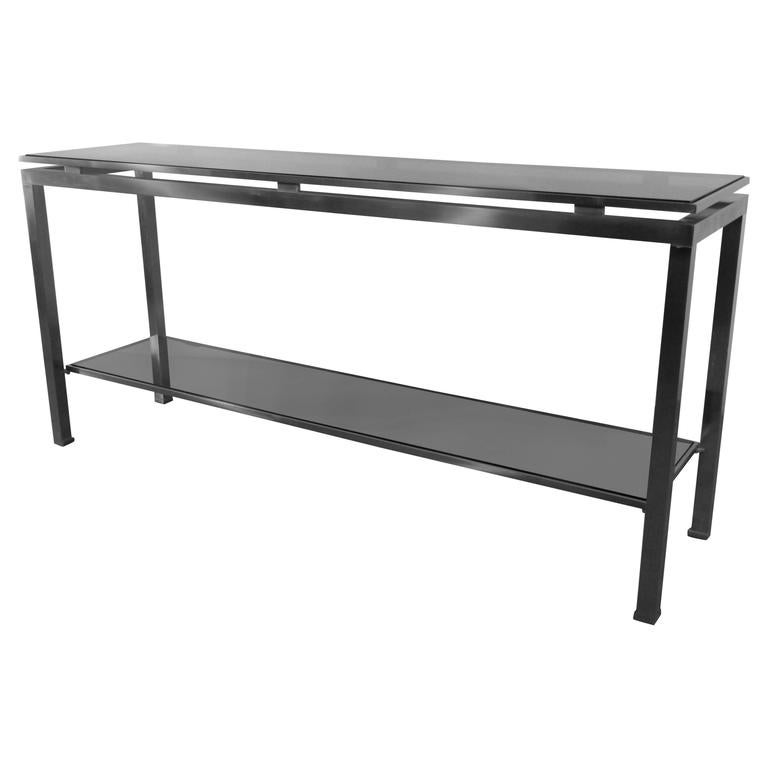 Guy Lefevre Large Console in Brushed Steel, with Tinted Glass, Maison Jansen For Sale