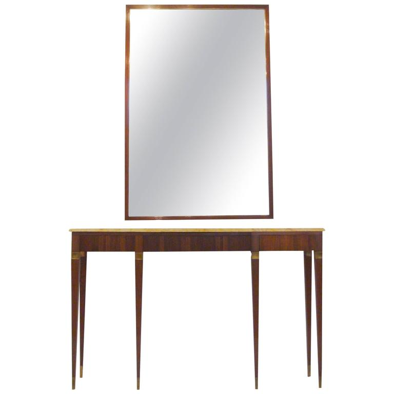 1950s Rosewood Console Table and Matching Mirror by Paolo Buffa at