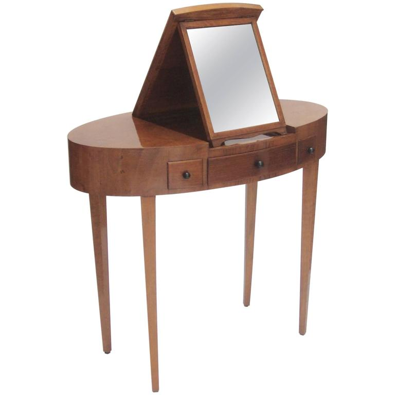 Small Italian 1940s Oval Dressing Table With Integrated Mirror At 1stdibs