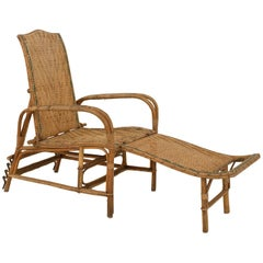 French Art Deco Bentwood and Wicker Chaise