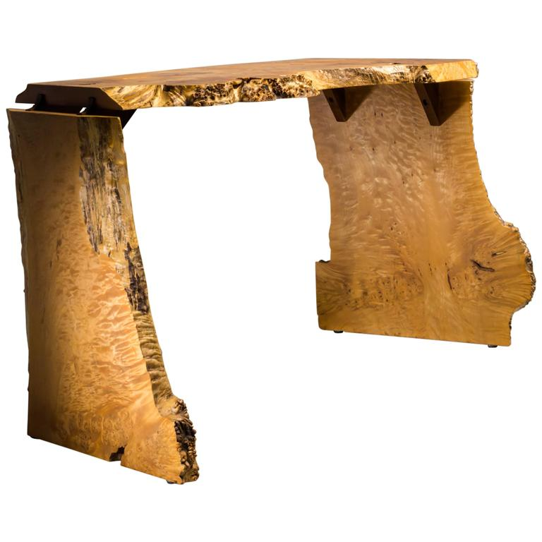 Michael Elkan Studio Crafted Maple Burll Console Table or desk, USA, 1980s