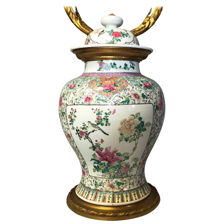 19th Century Chinese Famille Rose Vase/Lamp