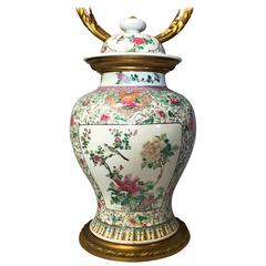 19th Century Chinese Famille Rose Vase/Lamp