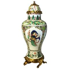 19th Century Chinese Famille Verte Vase/Lamp
