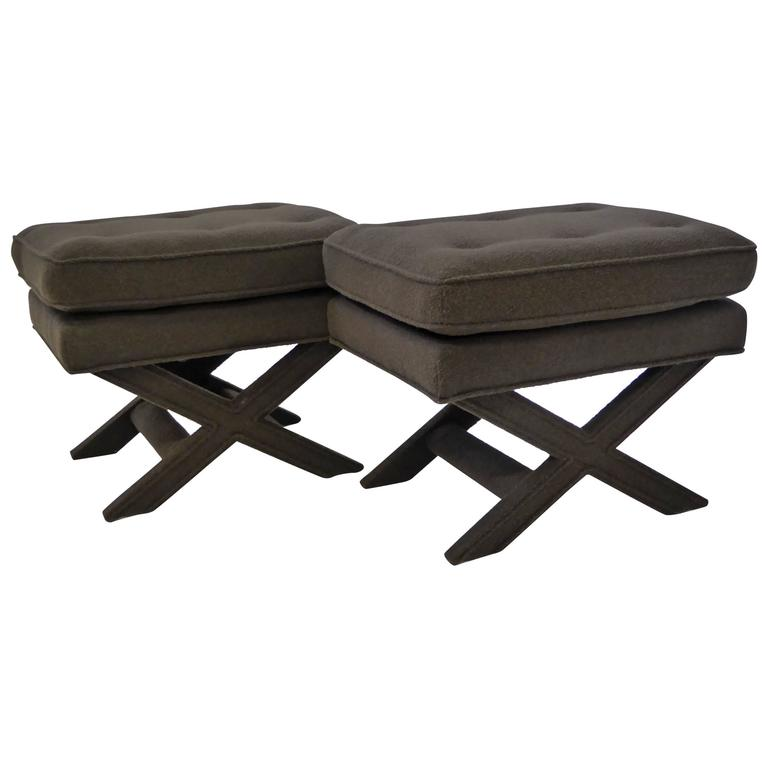 Billy Baldwin Style X-Benches in Dark Cocoa Boucle For Sale