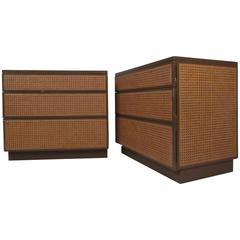 Mid-Century Cane Front Bedside Dressers by Directional