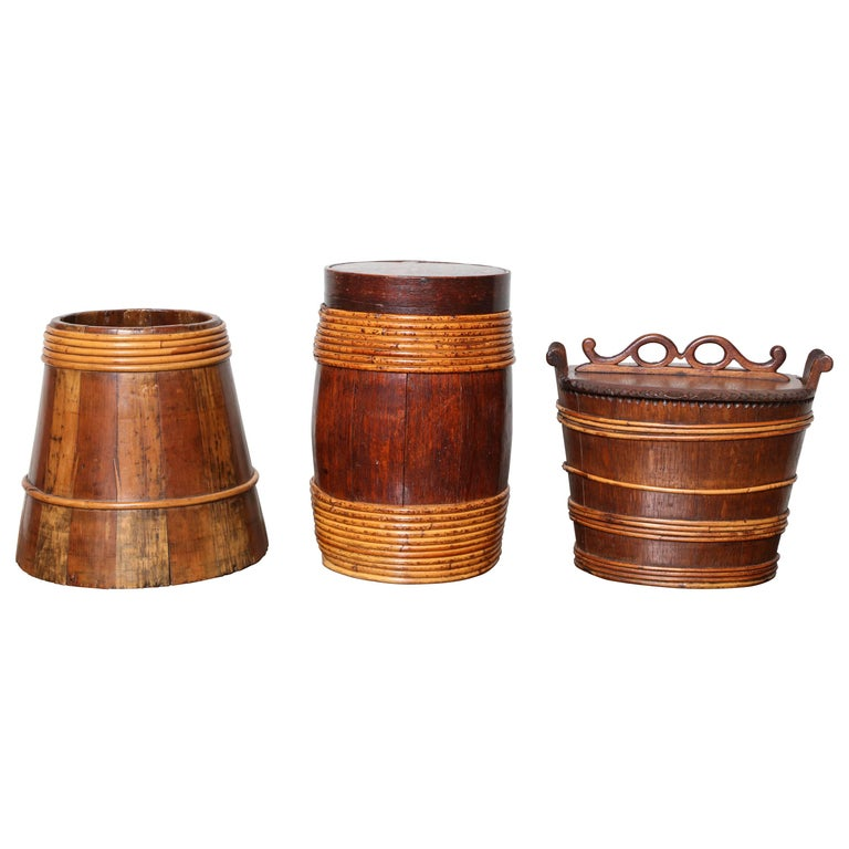 Collection of Willow Banded Treen Vessels For Sale