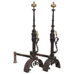 Important Pair of Berlin Baroque Andirons by Schulz & Holdefleiss