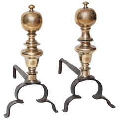 Pair of 17th Century Bronze and Iron Andirons