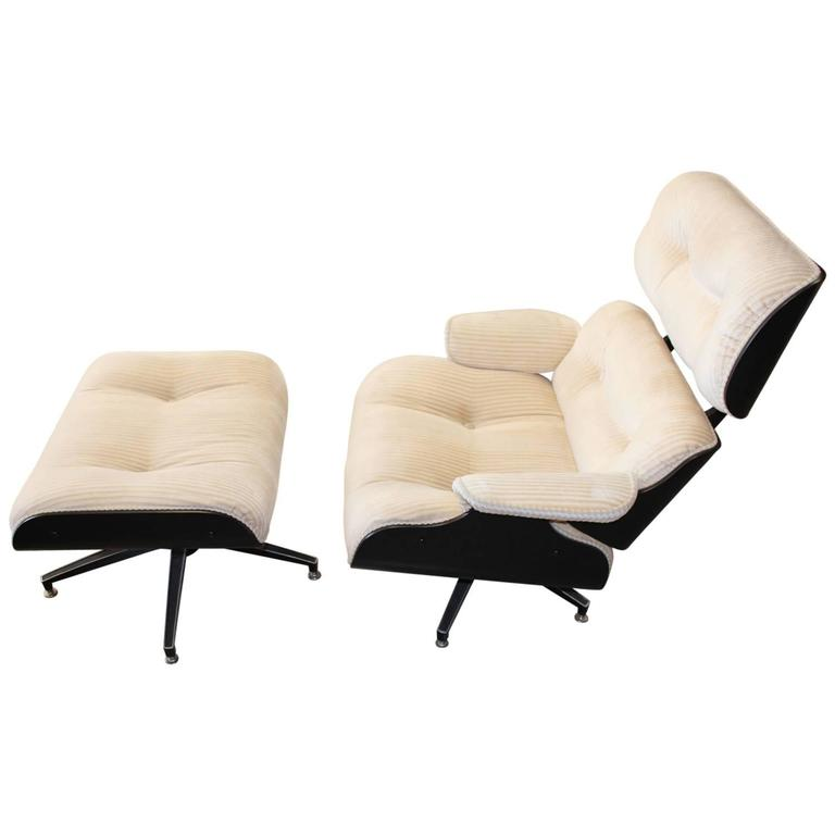Eames Style Lounge Chair and Ottoman at 1stdibs